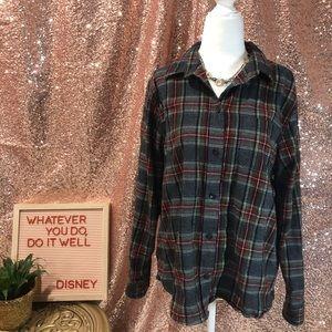 LL Bean Plaid flannel shirt SZ Med Petite